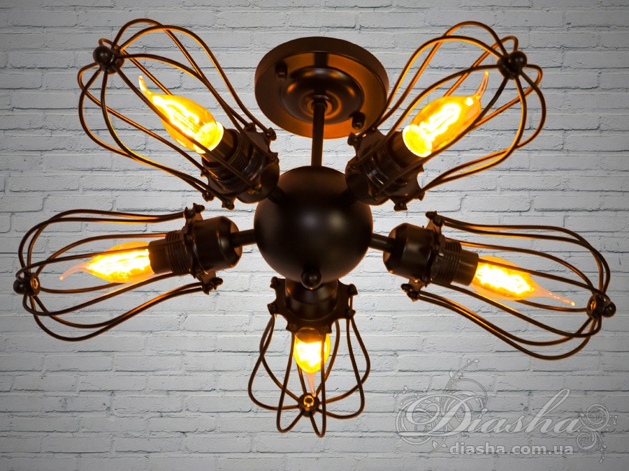 Настенно-потолочный светильник в стиле Loft на 5 лампСветильники