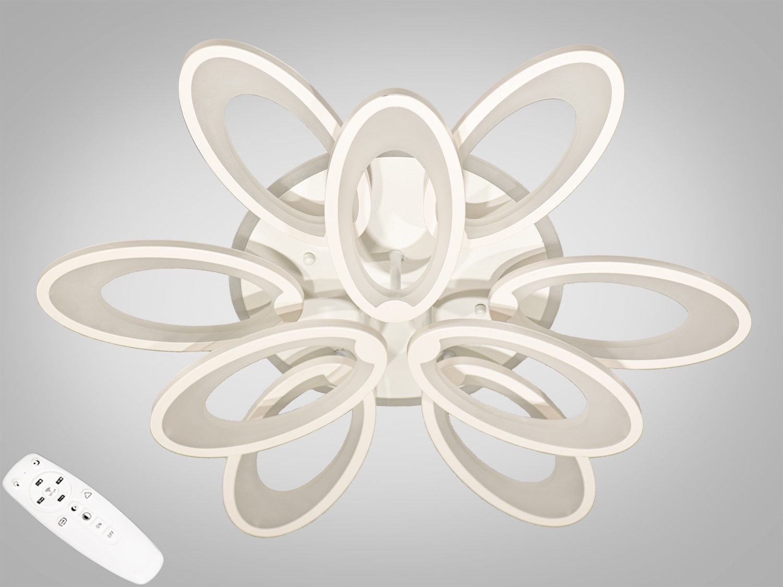 Светодиодная люстра имеет несколько режимов: холодный 6400К, нейтральный 4500К, тёплый 2700К, синяяLEDподсветка,совмещённый режим — любой основной свет плюс светодиодная подсветка — всё зависит от вашего настроения! Потолочный светильник имеет электронный димер, что позволяет регулировать яркость люстры от 5% до 100% при помощи пульта, который поставляется вместе с люстрой. В дополнение к стандартным режимам светодиодной люстры, добавлен режим цветной подсветки. Люстра способна наполнить комнату приятным цветным переливом - за 2 минуты в режиме подсветки люстра проходит все цвета радуги. Светодиодные люстры этой серии стали идеальным светильником в детскую. Отсутсвие стеклянных частей и припотолочная компоновка люстры позволяет пережить ей любое детское веселье, а приятный многоцветный свет можно смело оставлять как ночник. Люстра светит ярко, но не слепит за счёт материала — акрила, к тому же этот материал очень прочен — его трудно повредить. Лёгкий вес, небольшая высота, оригинальный дизайн с хромированными частями, пульт, димер, дополнительная подсветка — вам обязательно понравятся наши люстры!