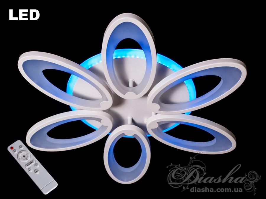 Потолочная LED-люстра с диммером и подсветкой,  WПотолочные люстры, Светодиодные люстры, Люстры LED, Потолочные