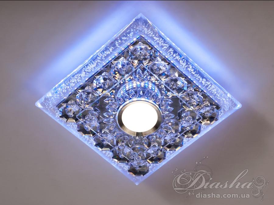Накладной точечный светильник с синей подсветкойВрезка, Точечные светильники, Хрустальные точечные светильники, Накладные точечные светильники, Новинки
