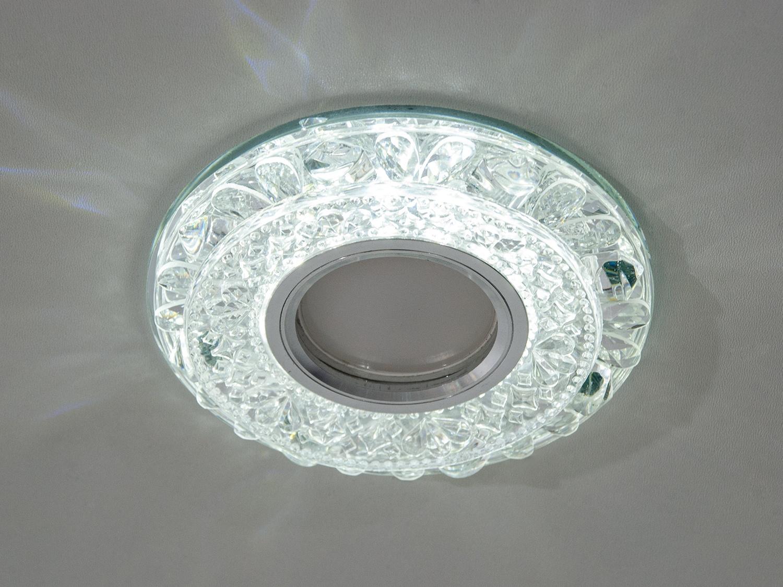 Обычно точечные светильники предназначаются для подвесных потолков и для подсветки различных нишили рабочей поверхности. Конструктивно точечный светильник состоит из двух частей: видимой - декоративной и встроенной – функциональной. Функциональная часть светильников состоит из каркаса, куда вставляется источник света и крепится декоративная часть, а также зажимов, которые предназначены для крепления светильника к потолку. Разнообразие декоративной части точечных светильников из акриловой смолы позволяет сделать Ваш интерьер неповторимым. Главные качества современных точечных светильников – это равномерное освещение всего помещения с возможностью акцентирования необходимых деталей интерьера. Точечные светильники произведенные из оптической смолы лучшее решение для натяжных потолков. Лёгкий корпус из акриловой смолы с оптическими характеристиками близкими к хрусталю. Стойкий к механическим повреждениям. Большой выбор моделей и цветов светильников. В светильник встроена подсветка мощностью 3Вт (цветовая температура 4100K - нейтральныйбелый). Лампа MR-16 и трансформатор в комплект не входят.
