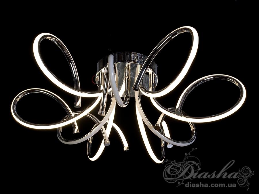 Перед Вами совсем новое и необычное исполнение плафонов, обрамляющих LED лампы. Такая люстра запросто подойдет под любой интерьер – классический, современный и даже в стиле «хай-тек».