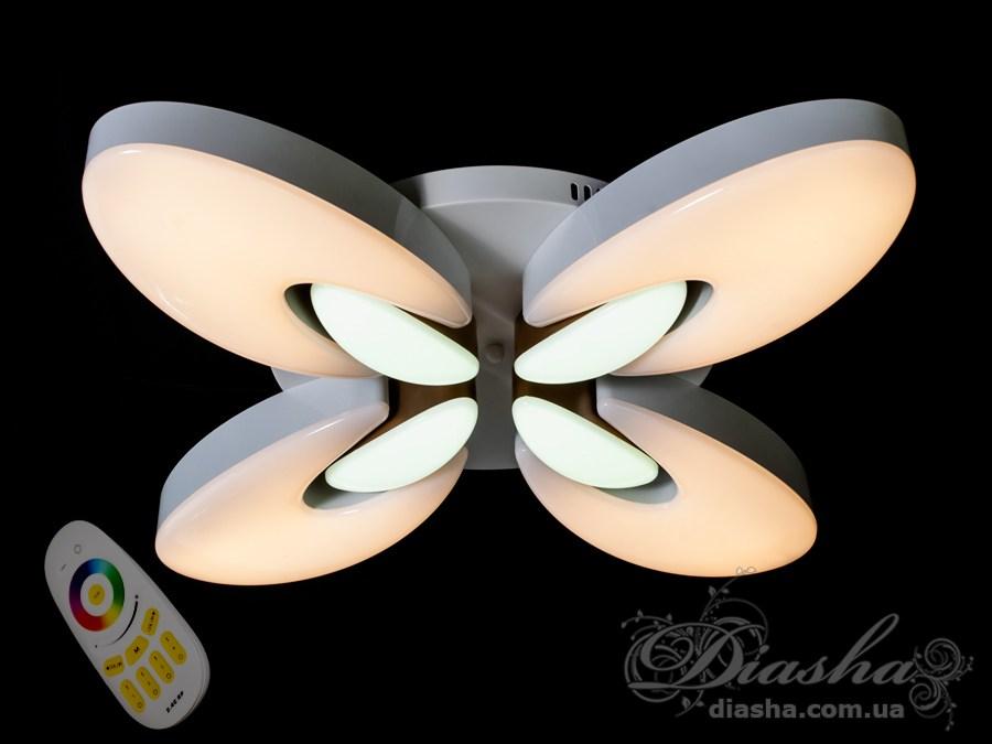 Светильник с регулируемым цветом свечения и цветной подсветкой 50WПотолочные люстры, Светодиодные люстры, светодиодные панели, Люстры LED, Новинки