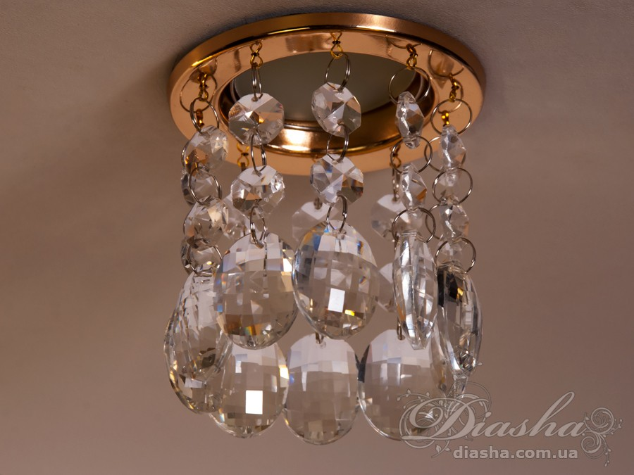 Точечный светильник с хрустальными подвескамиВрезка,Точечные светильники MR-16, Хрустальные точечные светильники, Хрустальный каскад