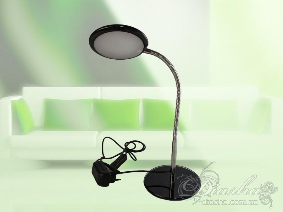 Светодиодная настольная лампа не мерцает, имеет большой срок службы, излучает приятный ровный свет. Органично вписывается в совремееный интерьер квартиры.