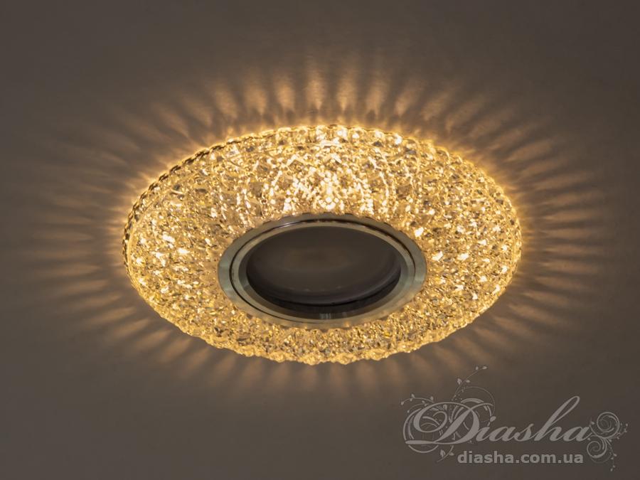 Обычно точечные светильники предназначаются для подвесных потолков и для подсветки различных нишили рабочей поверхности. Конструктивно точечный светильник состоит из двух частей: видимой - декоративной и встроенной – функциональной. Функциональная часть светильников состоит из каркаса, куда вставляется источник света и крепится декоративная часть, а также зажимов, которые предназначены для крепления светильника к потолку. Разнообразие декоративной части точечных светильников из акриловой смолы позволяет сделать Ваш интерьер неповторимым. Главные качества современных точечных светильников – это равномерное освещение всего помещения с возможностью акцентирования необходимых деталей интерьера.Точечные светильники произведенные из оптической смолы лучшее решение для натяжных потолков. Лёгкий корпус из акриловой смолы с оптическими характеристиками близкими к хрусталю. Стойкий к механическим повреждениям. Большой выбор моделей и цветов светильников.В светильник встроена подсветка мощностью 3Вт (цветовая температура 3200K - тёплый белый).Лампа MR-16 и трансформатор в комплект не входят.
