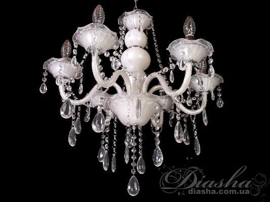 Классическая люстра из белого стеклаЛюстры со стеклянными рожками, Люстры классика, Серия 8007