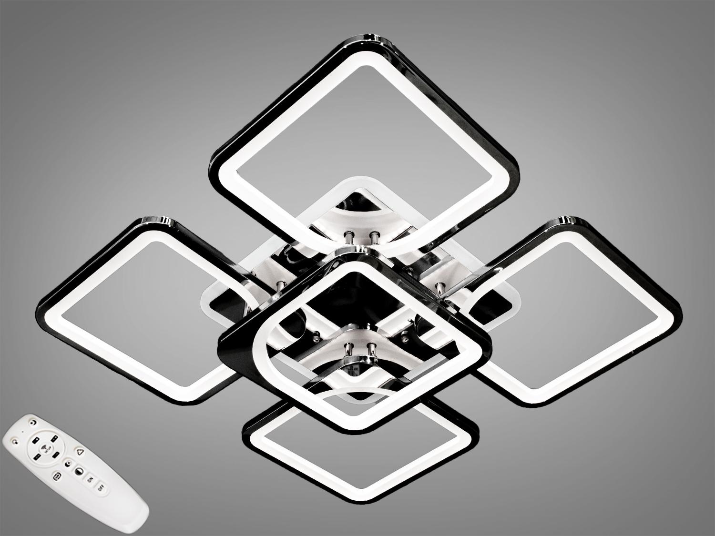 Потолочная люстра с диммером и LED подсветкой, цвет чёрный хром, 150WПотолочные люстры, Светодиодные люстры, Люстры LED, Потолочные, Новинки