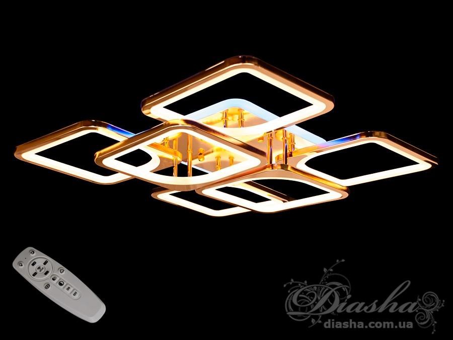 Потолочная люстра с диммером и LED подсветкой, цвет золото, 180WСерия