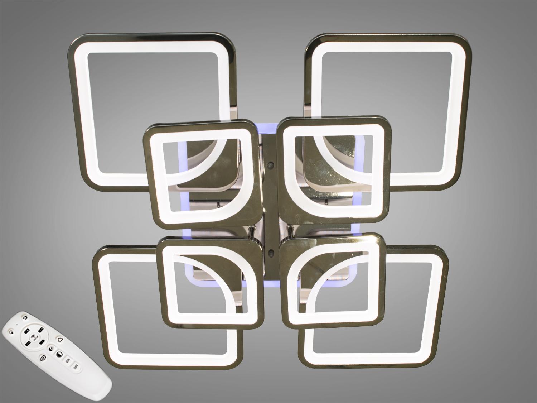 Потолочная люстра с диммером и LED подсветкой, цвет чёрный хром, 190WПотолочные люстры, Светодиодные люстры, Люстры LED, Потолочные, Новинки