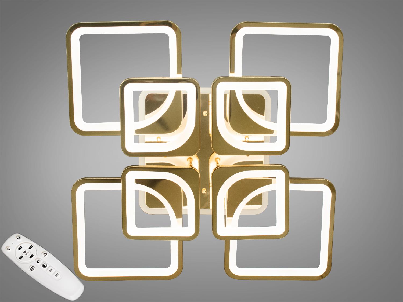 Потолочная люстра с диммером и LED подсветкой, цвет золото, 190WПотолочные люстры, Светодиодные люстры, Люстры LED, Потолочные, Новинки