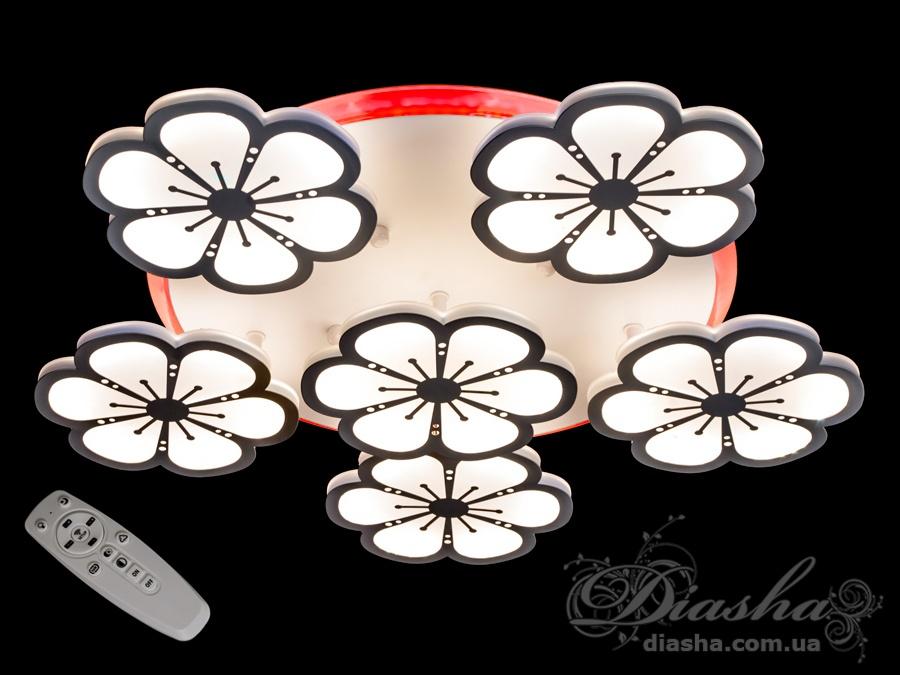Светодиодная люстра «цветочки» с трёхцветной LED подсветкой 110WПотолочные люстры, Светодиодные люстры, Люстры LED, Потолочные