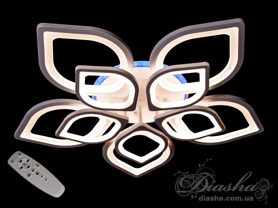 Потолочная LED-люстра с диммером и подсветкой, 220WПотолочные люстры, Светодиодные люстры, Люстры LED, Потолочные, Новинки