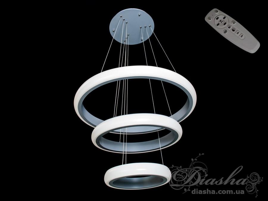 Перед Вами совсем новое и необычное исполнение плафонов, обрамляющих LED лампы. Такая люстра запросто подойдет под любой интерьер – классический, современный и даже в стиле «хай-тек».В комплекте с люстрой идёт самый современный тип пульта с электронным диммером и регулятором цвета. С пульта можно включить один из предустановленных режимов освещения - тёплый свет, холодный свет, нейтральный; включить режим