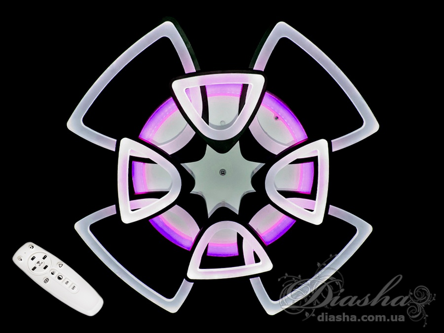 Перед Вами совсем новое и необычное исполнение плафонов, обрамляющих LED лампы. Такая люстра запросто подойдет под любой интерьер – классический, современный и даже в стиле «хай-тек». В комплекте с люстрой идёт самый современный тип пульта с электронным диммером и регулятором цвета. С пульта можно включить один из предустановленных режимов освещения - тёплый свет, холодный свет, нейтральный; включить синююю подсветку или режим