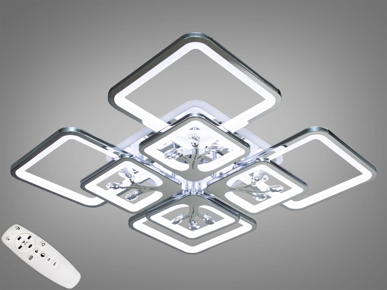 Встречайте самую хитовую модель в хромированном исполнении! Светодиодная люстра имеет несколько режимов: холодный 6400К, нейтральный 4500К, тёплый 2700К, синяя LED подсветка, красная LED подсветка, розовая LED подсветка, совмещённый режим — любой основной свет плюс любой цвет светодиодной подсветки — всё зависит от вашего настроения! Потолочный светильник имеет электронный димер, что позволяет регулировать яркость люстры от 5% до 100% при помощи пульта, который поставляется вместе с люстрой. Люстра светит ярко, но не слепит за счёт материала — акрила, к тому же этот материал очень прочен — его трудно повредить. Лёгкий вес, небольшая высота, оригинальный дизайн с хромированными частями, пульт, димер, дополнительная подсветка разных цветов — вам обязательно понравятся наши люстры!
