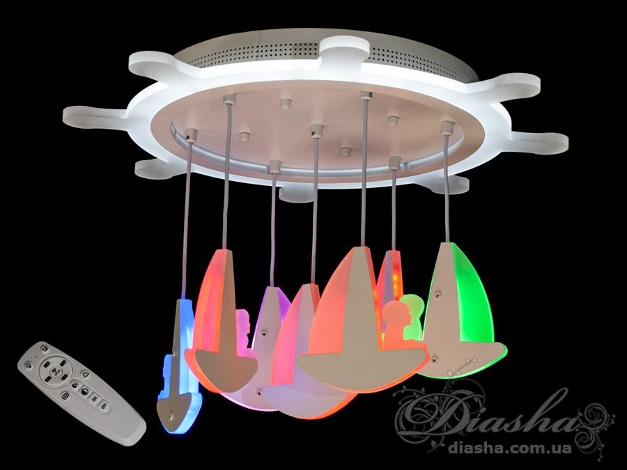 Потолочная LED-люстра с диммером и подсветкой, 95WПотолочные люстры, Светодиодные люстры, Люстры LED, Потолочные, Новинки