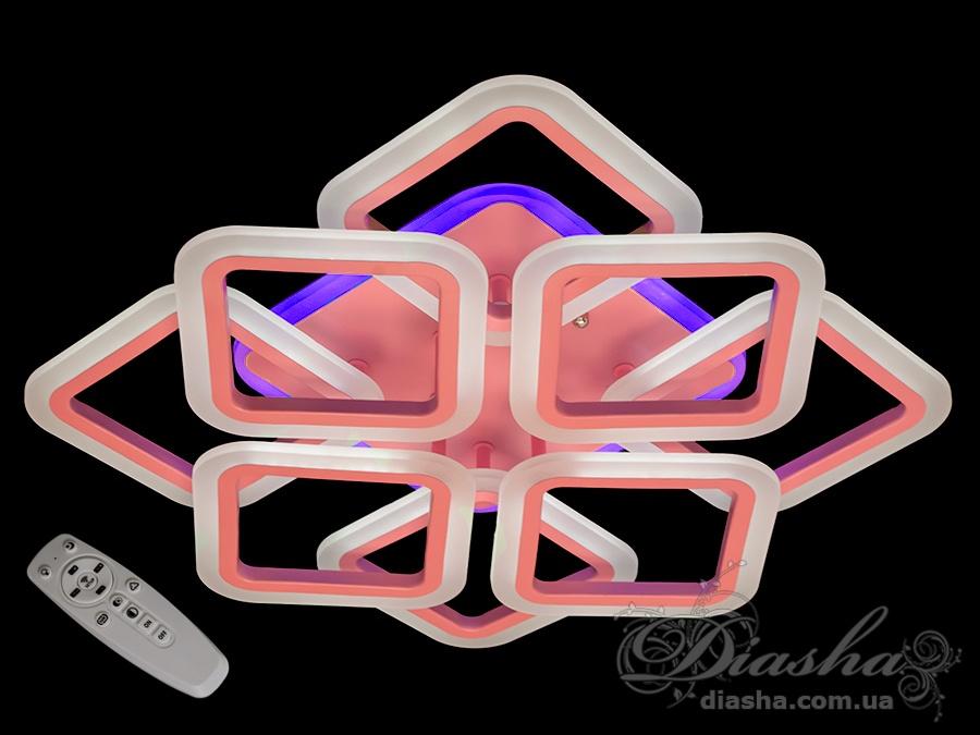 Потолочная LED-люстра с диммером и цветной подсветкой, 105WПотолочные люстры, Светодиодные люстры, Люстры LED, Потолочные, Новинки
