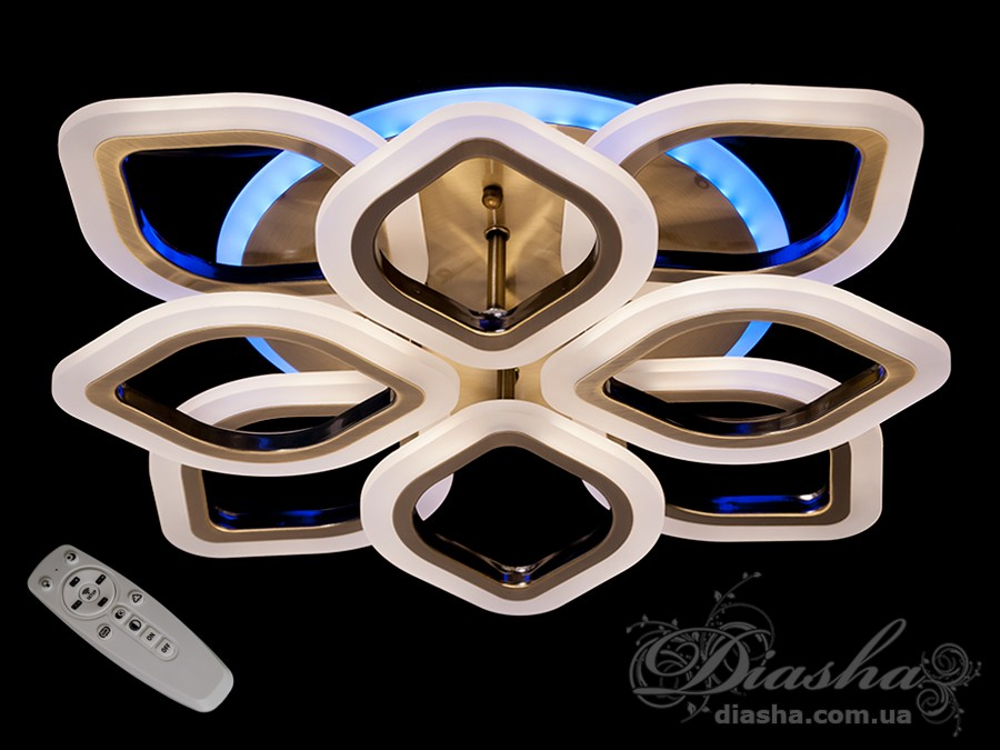 Потолочная LED-люстра с диммером и подсветкой, 80WПотолочные люстры, Светодиодные люстры, Люстры LED, Потолочные, Новинки