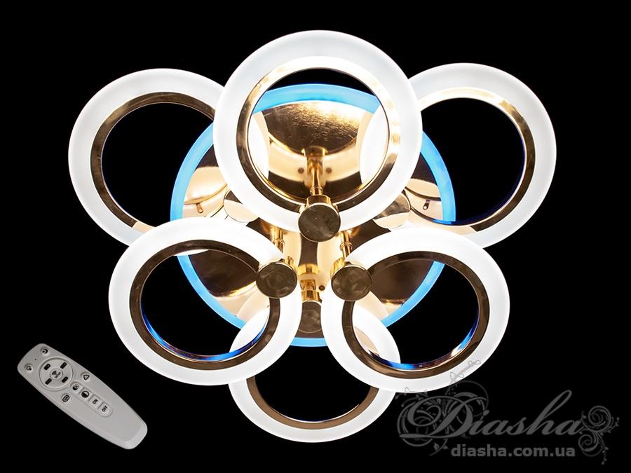 Потолочная люстра с диммером и LED подсветкой, цвет золото, 85WПотолочные люстры, Светодиодные люстры, Люстры LED, Потолочные, Новинки