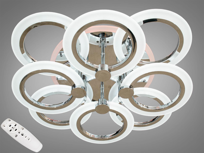 LED-люстра с диммером и цветной подсветкой, цвет хром, 110WПотолочные люстры, Светодиодные люстры, Люстры LED, Потолочные, Новинки