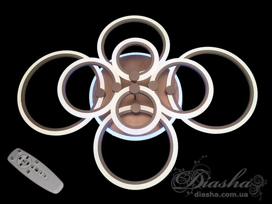 Потолочная LED-люстра с диммером и подсветкой, 200WПотолочные люстры, Светодиодные люстры, Люстры LED, Потолочные