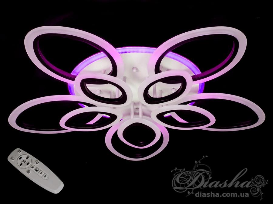 Потолочная LED-люстра с диммером и подсветкой 165WПотолочные люстры, Светодиодные люстры, Люстры LED, Потолочные, Новинки