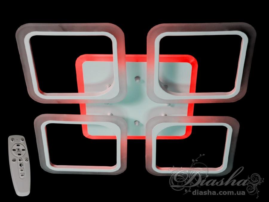 Потолочная LED-люстра с диммером и подсветкой, 100WПотолочные люстры, Светодиодные люстры, Люстры LED, Потолочные