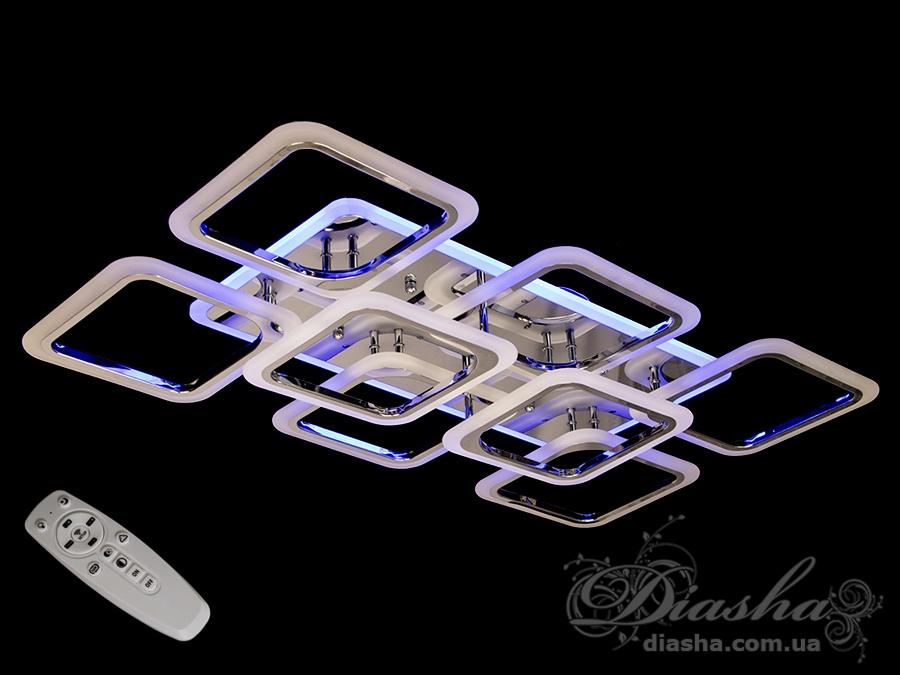 Потолочная люстра с диммером и LED подсветкой, цвет хром, 190WСерия
