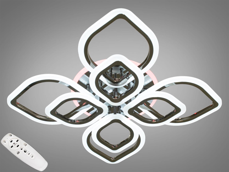 Потолочная люстра с диммером и LED подсветкой, цвет чёрный хром, 145WПотолочные люстры, Светодиодные люстры, Люстры LED, Потолочные, Новинки