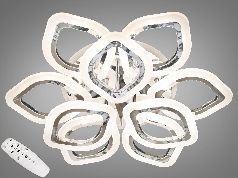 ветодиодная люстра имеет несколько режимов: холодный 6400К, нейтральный 4500К, тёплый 2700К, синяяLEDподсветка,совмещённый режим — любой основной свет плюс светодиодная подсветка — всё зависит от вашего настроения! Потолочный светильник имеет электронный димер, что позволяет регулировать яркость люстры от 5% до 100% при помощи пульта, который поставляется вместе с люстрой. В дополнение к стандартным режимам светодиодной люстры, добавлен режим цветной подсветки. Люстра способна наполнить комнату приятным цветным переливом - за 2 минуты в режиме подсветки люстра проходит все цвета радуги. Светодиодные люстры этой серии стали идеальным светильником в детскую. Отсутсвие стеклянных частей и припотолочная компоновка люстры позволяет пережить ей любое детское веселье, а приятный многоцветный свет можно смело оставлять как ночник. Люстра светит ярко, но не слепит за счёт материала — акрила, к тому же этот материал очень прочен — его трудно повредить. Лёгкий вес, небольшая высота, оригинальный дизайн, пульт, димер, дополнительная подсветка — вам обязательно понравятся наши люстры!
