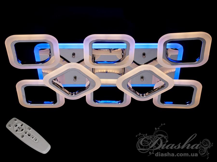 Потолочная люстра с диммером и LED подсветкой, цвет золото, 115WПотолочные люстры, Светодиодные люстры, Люстры LED, Потолочные, Новинки