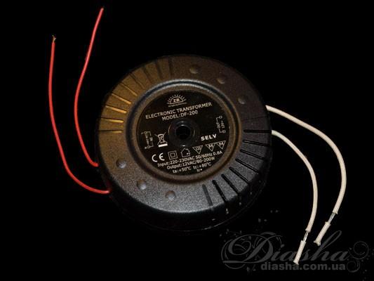 Электронный трансформатор мощностью 200Вт позволяет подключить до 10 галогеновых лампочек мощностью 20Вт. Диаметр: 120мм Высота: 42мм