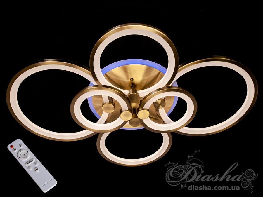 Потолочная LED-люстра с диммером и подсветкой, 125WПотолочные люстры, Светодиодные люстры, Люстры LED, Потолочные, Новинки