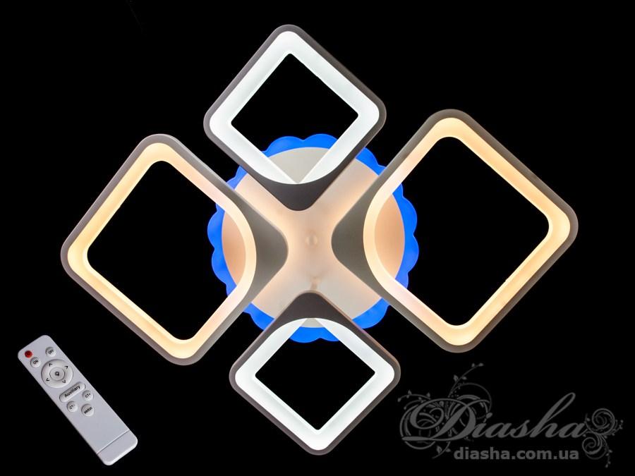 Потолочная LED-люстра с диммером и подсветкой, 90WПотолочные люстры, Светодиодные люстры, Люстры LED, Потолочные, Новинки