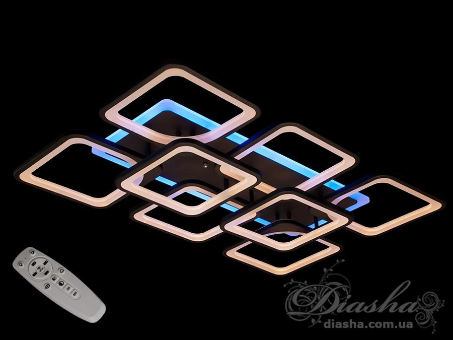 Потолочная LED-люстра с диммером и подсветкой, 210WПотолочные люстры, Светодиодные люстры, Люстры LED, Потолочные