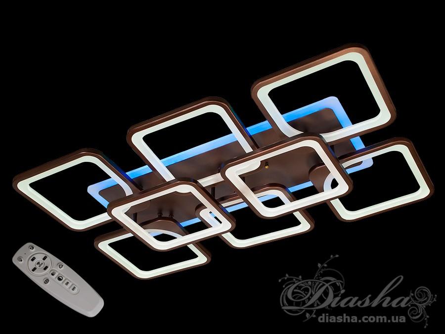 Потолочная LED-люстра с диммером и подсветкой, 210WПотолочные люстры, Светодиодные люстры, Люстры LED, Потолочные, Новинки