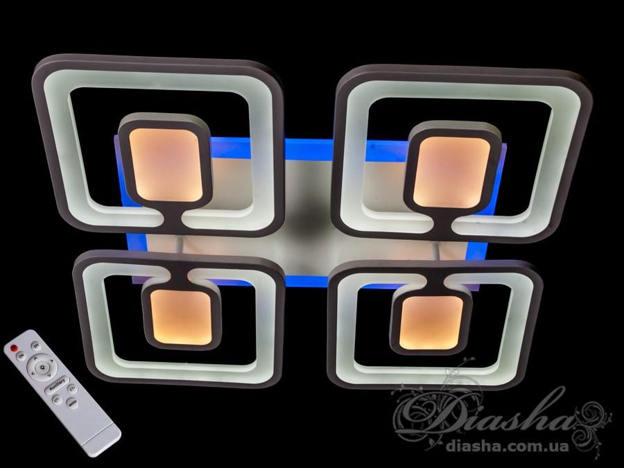 Новое и необычно переработанное исполнение LED люстры серии 8060. Теперь в одном плафоне сразу два. Новая форма позволяет при компактных размерах получить мягкое равномерное и мощное освещение сравнимое по световому потоку с люстрой 8060/4+4. Такая люстра запросто подойдет под любой интерьер – классический, современный и даже в стиле «хай-тек». Три цвета свечения люстры и синяя светодиодная подсветка позволяют в любое время суток подобрать комфортное освещение. В комплекте с люстрой идёт самый современный тип пульта с электронным диммером и регулятором цвета. С пульта можно включить один из предустановленных режимов освещения - тёплый свет, холодный свет, нейтральный; включить режим