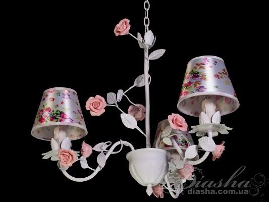 Классическая цветочная люстра на 3 лампыЛюстры с абажурами, Люстры прованс, Люстры классика, Цветочная серия
