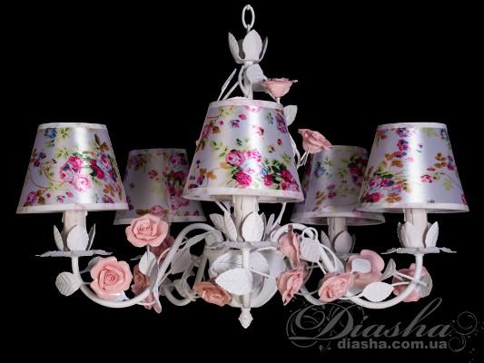 Классическая цветочная люстра на 5 лампЛюстры с абажурами, Люстры прованс, Люстры классика, Цветочная серия