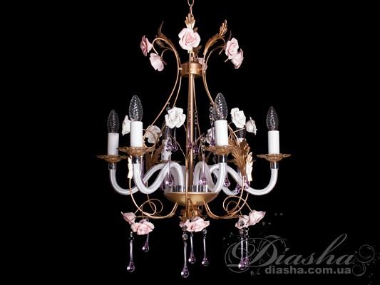 Классическая цветочная люстра на 6 лампЛюстры прованс, Люстры со стеклянными рожками, Люстры классика, Цветочная серия