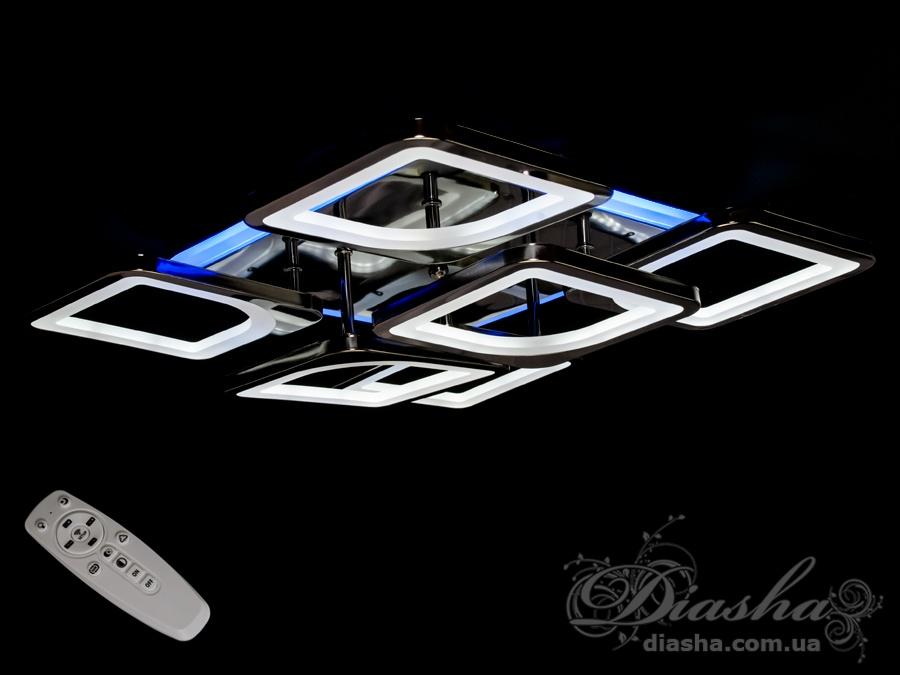 Потолочная люстра с диммером и LED подсветкой, цвет чёрный хром, 130WПотолочные люстры, Светодиодные люстры, Люстры LED, Потолочные, Новинки