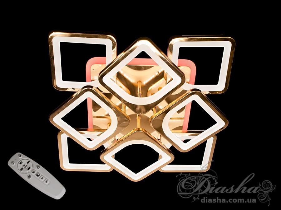 Потолочная люстра с диммером и LED подсветкой, цвет золото, 150WСерия